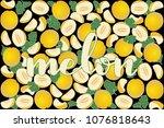 vector illustration of melon... | Shutterstock .eps vector #1076818643