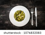 penne with chicken and pesto... | Shutterstock . vector #1076832083
