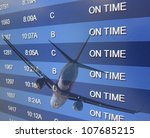 An airport On Time board listing arrivals and departures - stock photo
