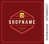 burger logo vector illustration.... | Shutterstock .eps vector #1076860217