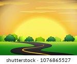 roadside with golden sky... | Shutterstock .eps vector #1076865527