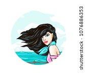 glamorous fashionable brunette... | Shutterstock .eps vector #1076886353