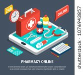 24 hours online pharmacy... | Shutterstock .eps vector #1076943857