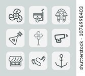 premium set of outline icons.... | Shutterstock .eps vector #1076998403
