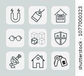 premium set of outline icons.... | Shutterstock .eps vector #1077000323