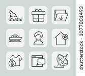 premium set of outline icons.... | Shutterstock .eps vector #1077001493