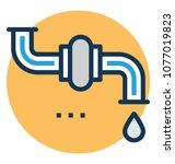 sanitary fitting water pipe... | Shutterstock .eps vector #1077019823