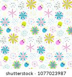 floral pattern background with... | Shutterstock .eps vector #1077023987