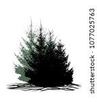 trees  forest  grove  christmas ... | Shutterstock .eps vector #1077025763