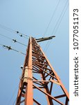an electric pole made of metal... | Shutterstock . vector #1077051173