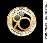 90 years anniversary emblem.... | Shutterstock .eps vector #1077061907