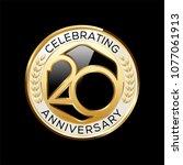 20 years anniversary emblem.... | Shutterstock .eps vector #1077061913