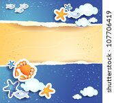 Sea and sand, vector background - stock vector