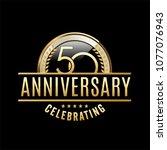 50 years anniversary emblem....   Shutterstock .eps vector #1077076943