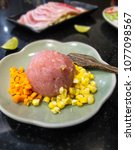 Small photo of Pork Bounce with Carrot, Corn, Cooking wooden paddles On the plate / thai style / DIY.
