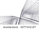 architectural drawing 3d  | Shutterstock .eps vector #1077141137