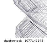 architectural drawing 3d  | Shutterstock .eps vector #1077141143