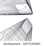 architectural drawing 3d | Shutterstock .eps vector #1077142007