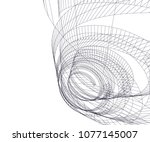 abstract architecture vector 3d ... | Shutterstock .eps vector #1077145007