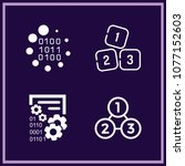 set of 4 numbers outline icons... | Shutterstock .eps vector #1077152603