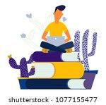 vector illustration boy learn... | Shutterstock .eps vector #1077155477