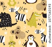 seamless childish pattern with...   Shutterstock .eps vector #1077163193