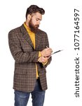 portrait of bearded businessman ...   Shutterstock . vector #1077164597