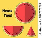 watermelon slices in top view...   Shutterstock .eps vector #1077171923