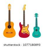 guitar set. acoustic guitar ... | Shutterstock .eps vector #1077180893
