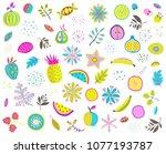 fruits vegetables mix clip art... | Shutterstock .eps vector #1077193787