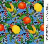 watercolor seamless pattern... | Shutterstock . vector #1077205013