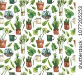 watercolor seamless pattern... | Shutterstock . vector #1077205253
