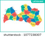 the detailed map of latvia with ... | Shutterstock .eps vector #1077238307