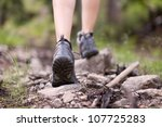 hiking boots in outdoor action | Shutterstock . vector #107725283
