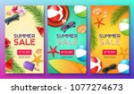 summer sale poster set with 50  ... | Shutterstock .eps vector #1077274673