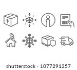 set of parcel delivery ... | Shutterstock .eps vector #1077291257