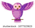funny curious pink purple owl... | Shutterstock .eps vector #1077325823