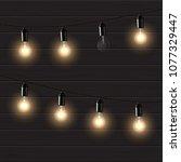 bulb garland on brown wooden...   Shutterstock . vector #1077329447