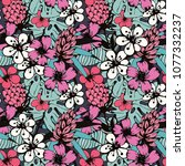 seamless pattern with tropical... | Shutterstock .eps vector #1077332237