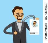 happy caucasian businessman... | Shutterstock .eps vector #1077335063