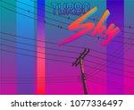 vector 1980s poster stylization.... | Shutterstock .eps vector #1077336497