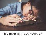 girl cute asian a sleep on the...   Shutterstock . vector #1077340787