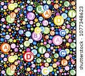 seamless pattern. multi vitamin ... | Shutterstock . vector #1077348623
