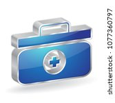 medic box 3d glossy vector icon ... | Shutterstock .eps vector #1077360797