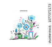 beautiful home garden with lots ... | Shutterstock .eps vector #1077372173