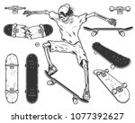 set of skateboards and skeleton.... | Shutterstock . vector #1077392627