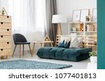 green mattress  gray chair and... | Shutterstock . vector #1077401813