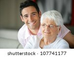 old lady and her grandson... | Shutterstock . vector #107741177