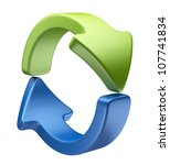 Arrows icon 3D. Recycle symbol isolated on white - stock photo