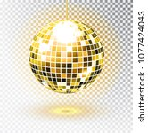 golden disco ball. vector... | Shutterstock .eps vector #1077424043